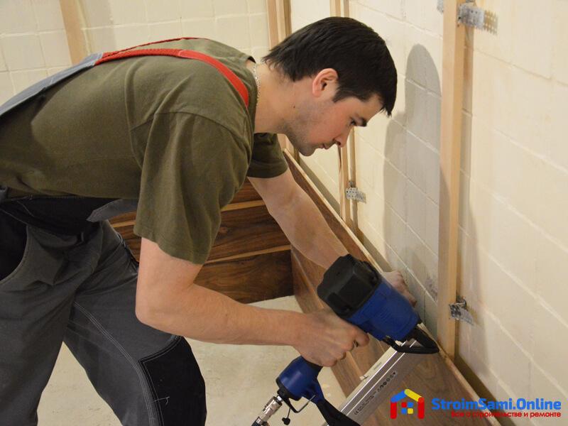 Монтаж деревянных стеновых панелей каркасным способом