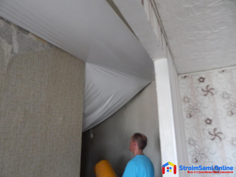 Установка натяжных потолков: фото пошагово